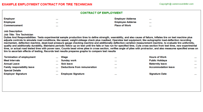 Tire Technician Employment Contract Template