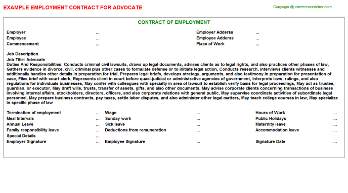 Advocate Employment Contract Template