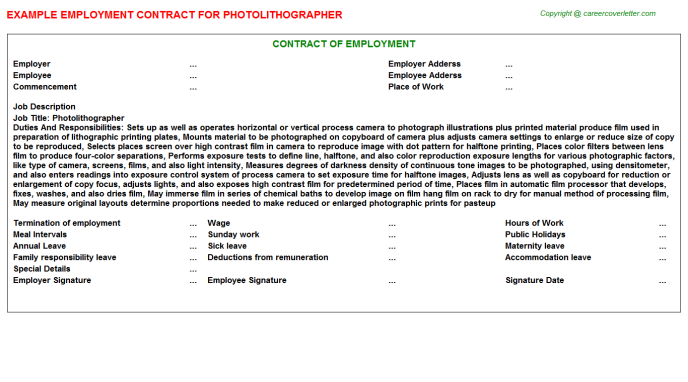 Photolithographer Employment Contract Template