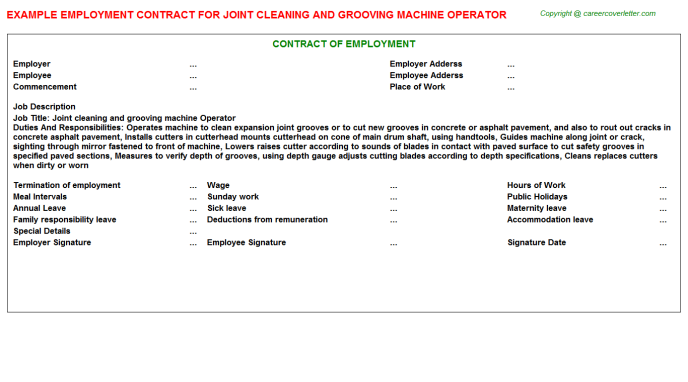 Joint cleaning and grooving machine Operator Employment Contract Template
