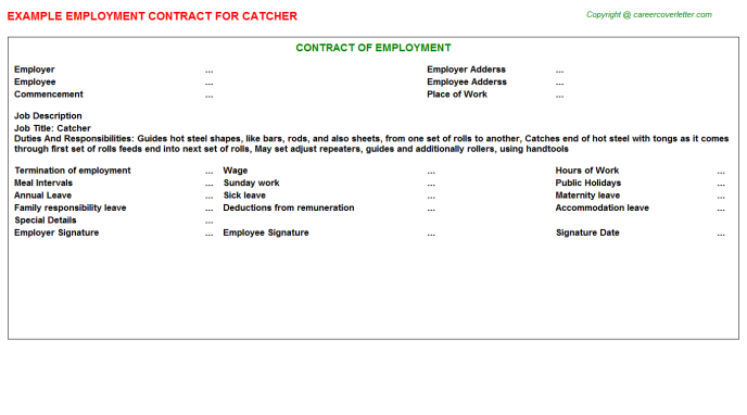 Catcher Employment Contract Template