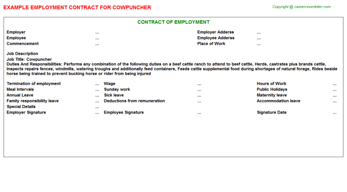 Cowpuncher Job Employment Contract Template
