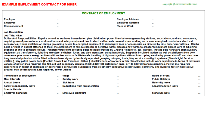 Hiker Employment Contract Template