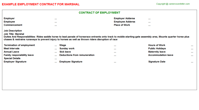 Marshal Employment Contract Template