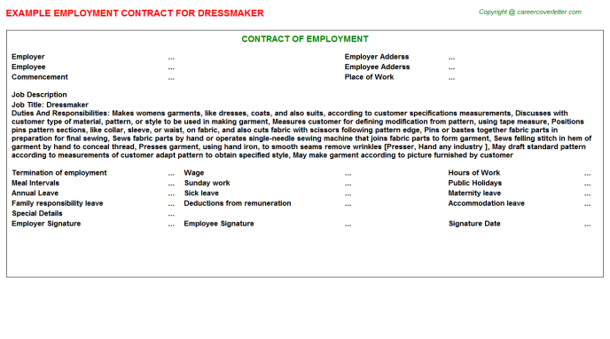 Dressmaker Employment Contract Template