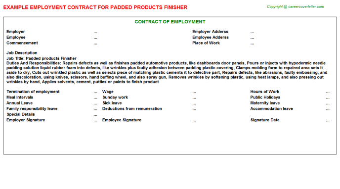 Padded products Finisher Employment Contract Template