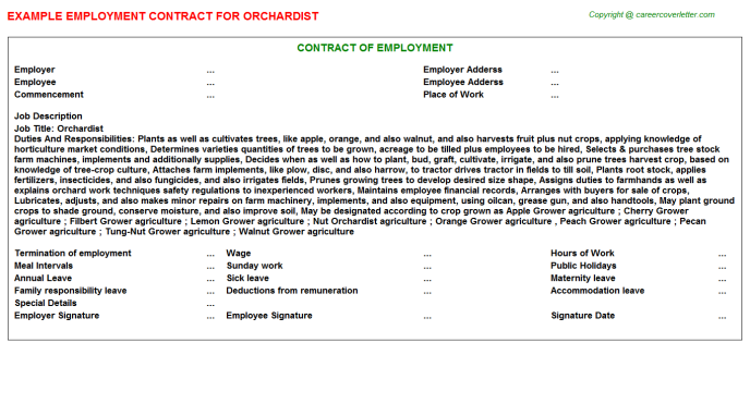 Orchardist Employment Contract Template