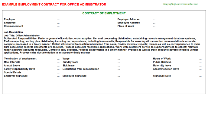 Office Administrator Employment Contract Template