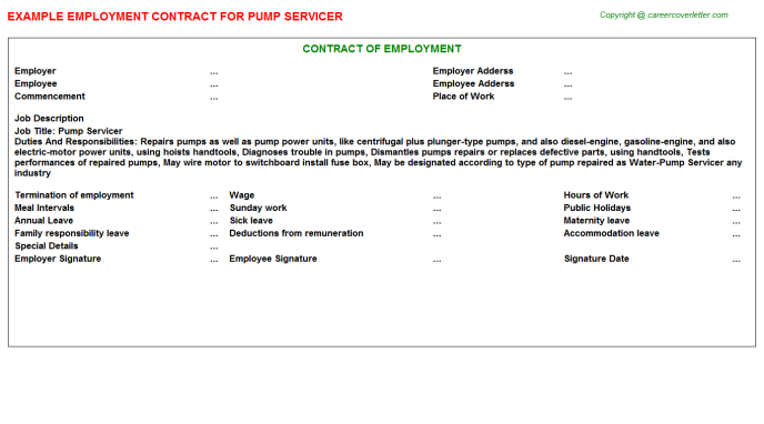 Pump Servicer Employment Contract Template