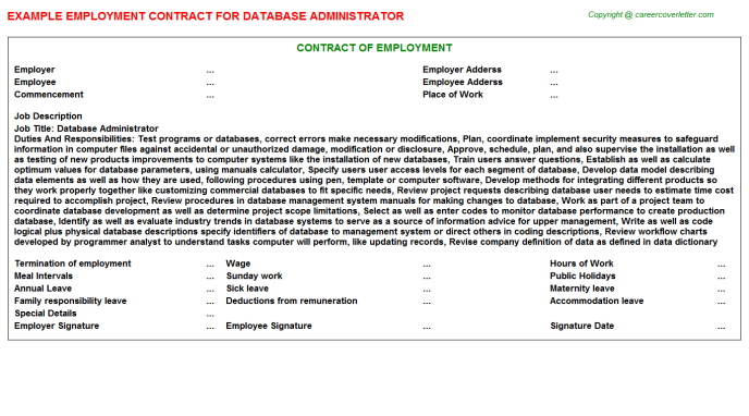 Database Administrator Employment Contract Template