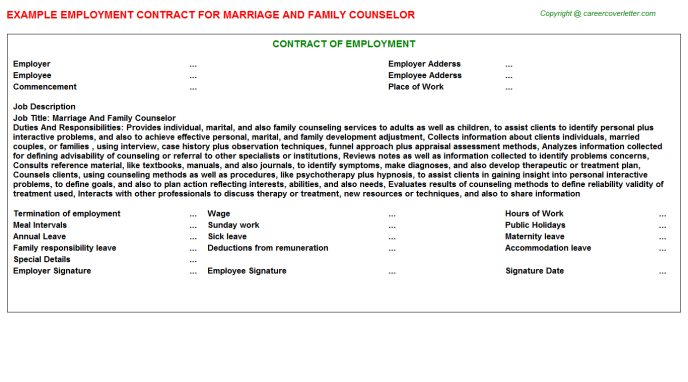 Marriage And Family Counselor Job Employment Contract Template