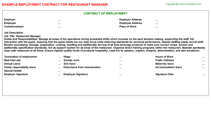 Restaurant Manager Employment Contract Template