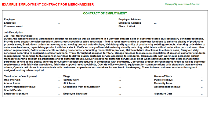 Merchandiser Employment Contract Template