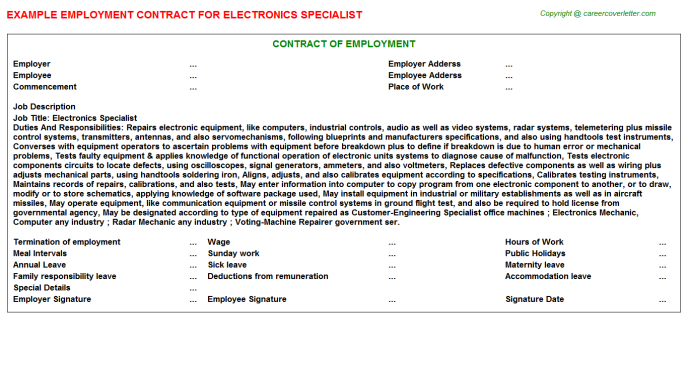 Electronics Specialist Job Contract Template