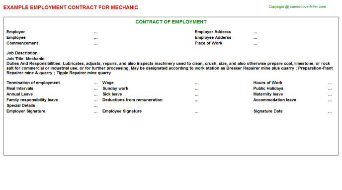 Mechanic Employment Contract Template