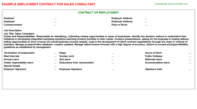 Sales Consultant Employment Contract Template
