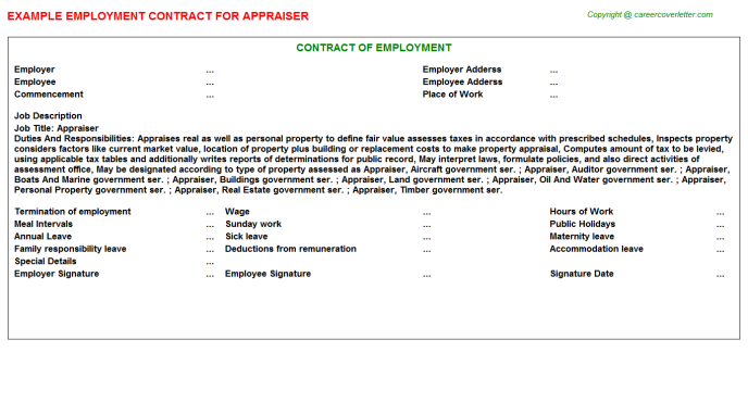 Appraiser Job Employment Contract Template