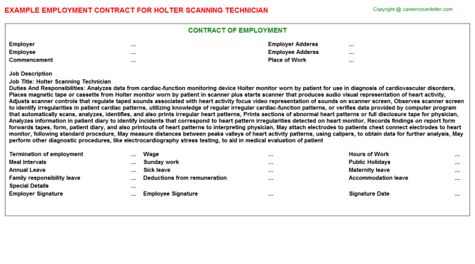 Holter Scanning Technician Job Employment Contract