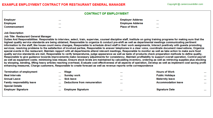 Restaurant General Manager Employment Contract Template