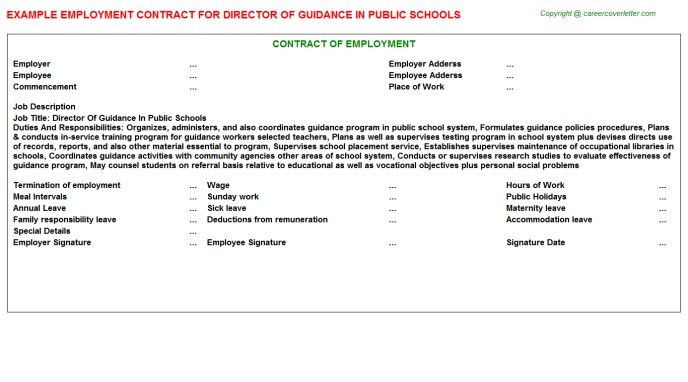 Director Of Guidance In Public Schools Employment Contract Template