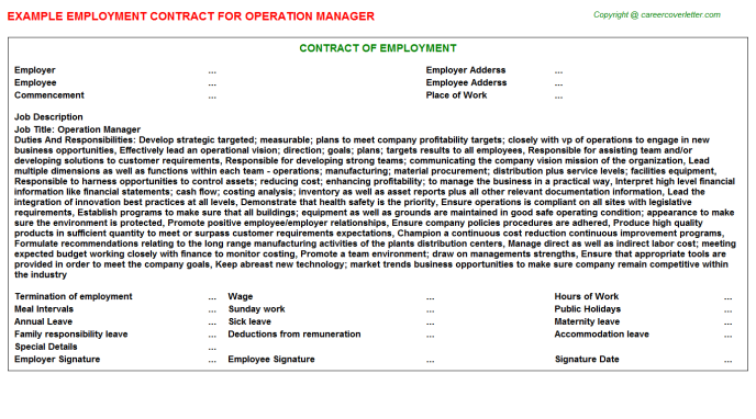 Operation Manager Employment Contract Template