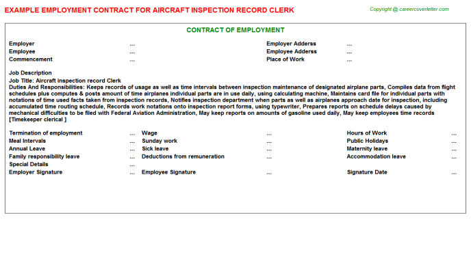 Aircraft Inspection Record Clerk Employment Contract Template