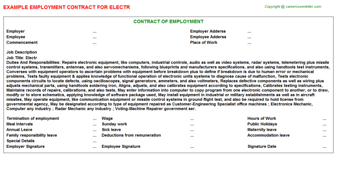 Electr Employment Contract Template