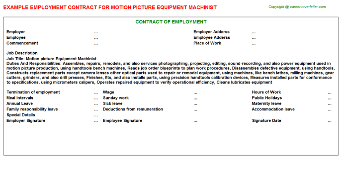 motion picture equipment machinist employment contract template