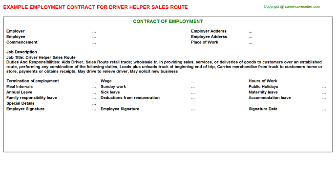 Driver Helper Sales Route Employment Contract Template