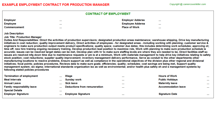 Production Manager Employment Contract Template