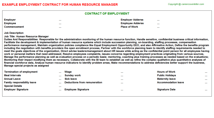 Human Resource Manager Employment Contract Template