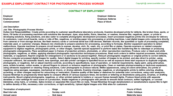 photographic process worker employment contract template
