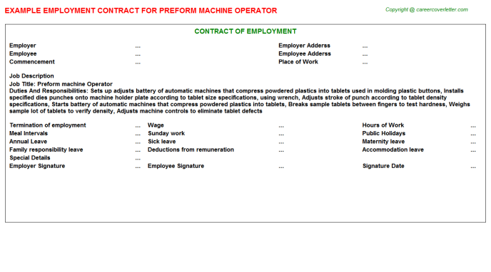 Preform Machine Operator Employment Contract Template