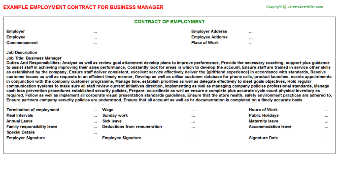 Business Manager Employment Contract Template