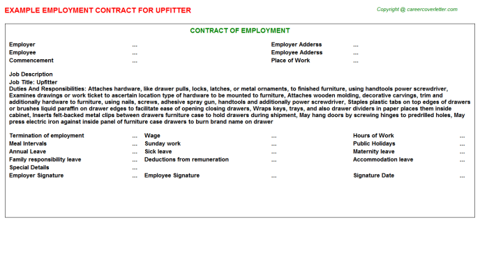 Upfitter Employment Contract Template