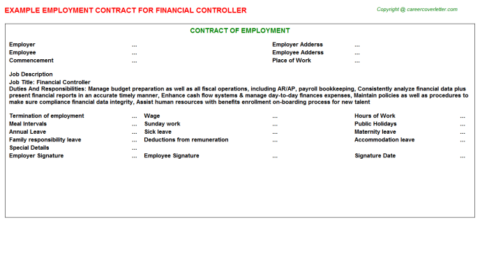 financial controller employment contract template