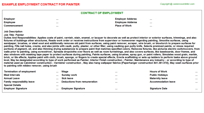 Painter Job Employment Contract Template
