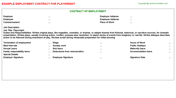 Playwright Job Employment Contract Template