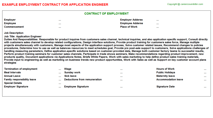 Application Engineer Employment Contract Template