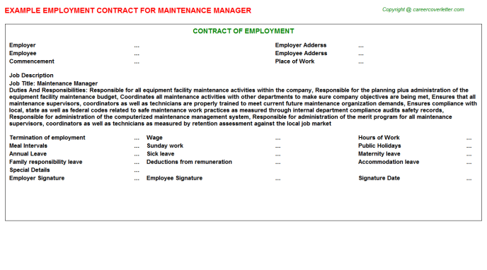 Maintenance Manager Employment Contract Template