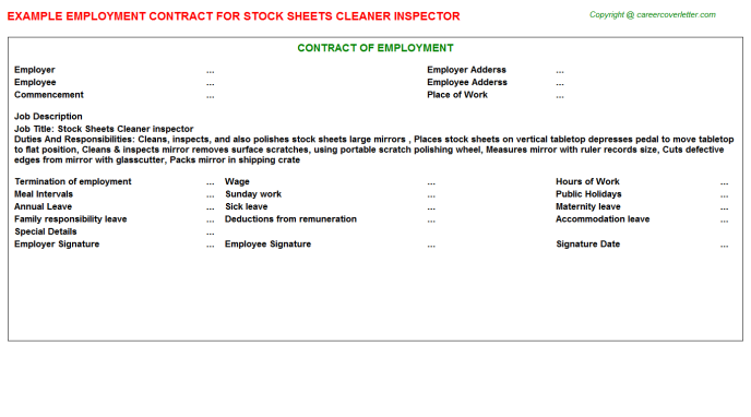 Stock Sheets Cleaner inspector Employment Contract Template