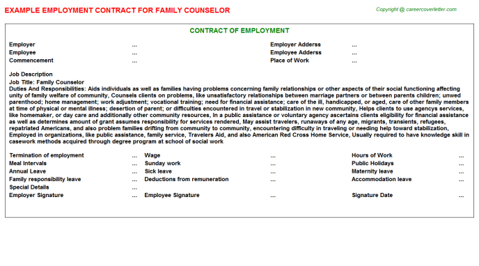 Family Counselor Employment Contract Template