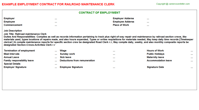 Railroad maintenance Clerk Employment Contract Template
