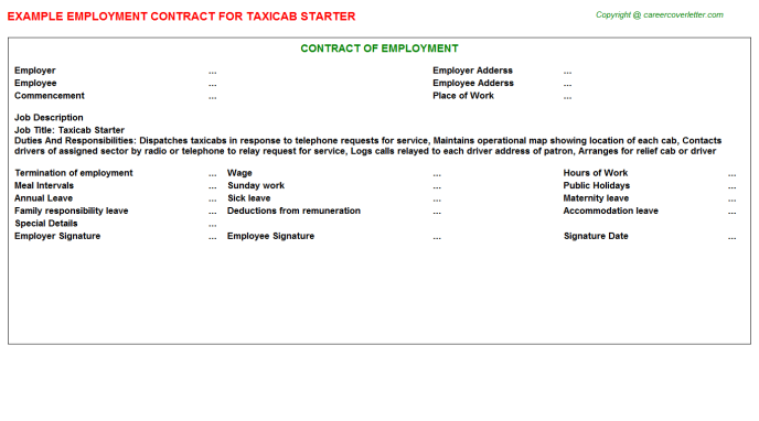 Taxicab Starter Employment Contract Template