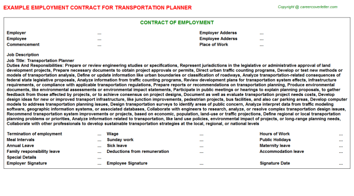 Transportation Planner Employment Contract Template
