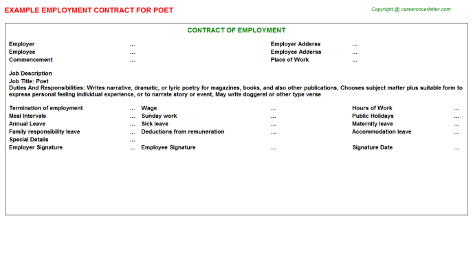 Poet Job Employment Contract Template