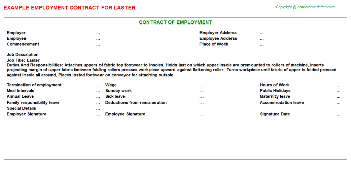Laster Employment Contract Template