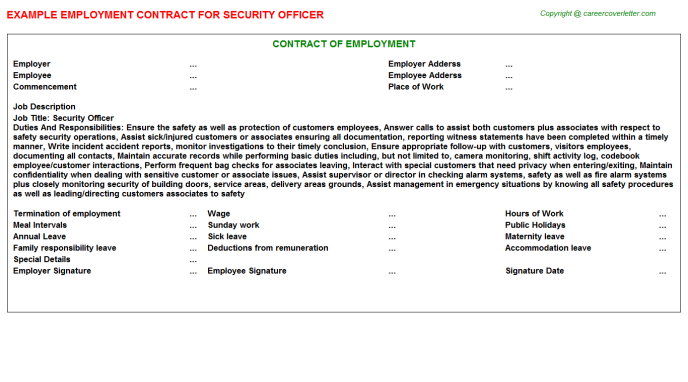 Security Officer Employment Contract Template