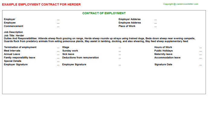 Herder Employment Contract Template