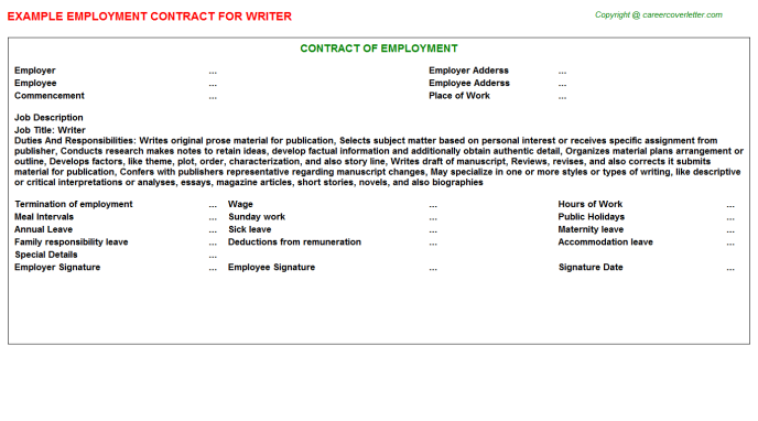 Writer Job Employment Contract Template